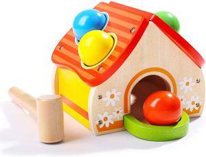 Holz Klopfspiel für Kinder ab 1 Jahr, Klopfbank Hammerspiel mit Kugeln, Hammerspielzeug Geschenke Jungen Mädchen
