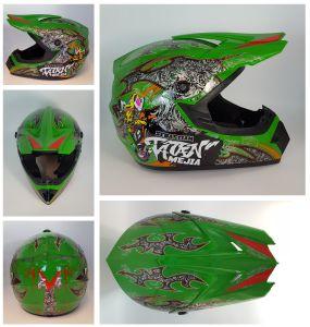Megacooler Crosshelm Mejia Helm für Kinder grün Größe M; Kinderhelm Motocrosshelm