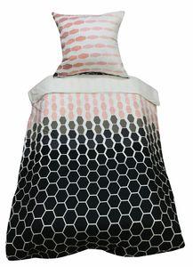 Bettwäsche 135x200 + 80x80 cm rosa grau kariert mit Reißverschluss, 2-tlg