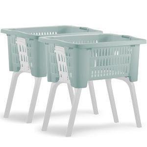 Deuba 2x Wäschekorb mit ausklappbaren Beinen Tragegriff 38L Kunststoff Haushalt Waschwanne 60x40x58cm Waschbehälter Set, Anzahl/Farbe:2x grün