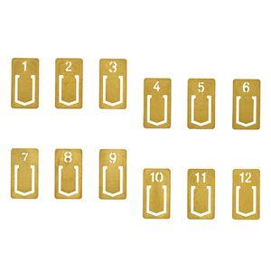 12 Stücke Mini Messing Lesezeichen Clips Nette Zahlen Metall Lesezeichen Linie Marker