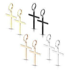Kreuz Ohrringe: Edelstahl Creolen Ohrhänger, Farbe:Black