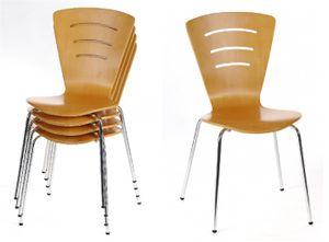 4 Stapelstühle 4 Bürostühle Buche 4 Stühle Buche - (1454)