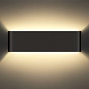 SCHIELE Wandleuchte Schwarz 12W Wandlampen Innen LED Up Down 960lm Moderne Aluminium Wandlampe 2800K Warmweiß für Badlampe Wohnzimmer Schlafzimmer Treppenhaus Flur Wandbeleuchtung