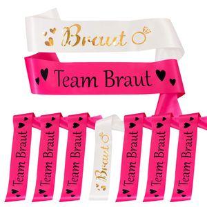 Oblique Unique Schärpe Braut + Team Braut Schärpen Set JGA Junggesellinnenabschied Accessoires pink weiß