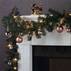 Weihnachtsgirlande 270cm 180 Spitzen 20 Lampen 16 Kugeln, Farbe:Champagner