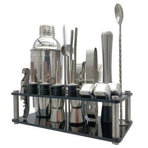 23-teiliges Cocktail-Set Boston Shaker Mixer Werkzeugset zur Herstellung von Getraenken aus Edelstahl fuer die Verwendung in der Hausbar