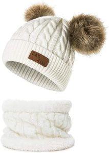 Baby Kleinkind Winter warme Mütze und Schal Set - Dicke Dehnbare Mütze Cap mit Circle Loop Schal Neckwarmer