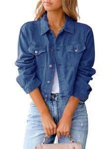 Damen kurze Jeansjacke kurzes schmales Oberteil,Farbe: Dunkelblau,Größe:S