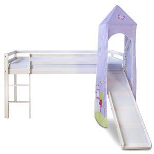 Homestyle4u 1557, Kinderbett 90x200 Weiß Lila, Hochbett mit Rutsche und Turm