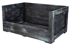 1x Toller, schwarzer Hundekorb aus Holz mit dickem Polster, tiefem Einstieg & Tafelfarbe für Namen Ihres Vierbeiners, neu, 90x57x45cm
