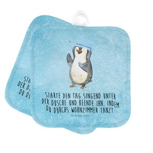 Mr. & Mrs. Panda Ofenhandschuh, Topflappen Set, 2er Set Topflappen Pinguin duscht mit Spruch