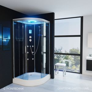 TroniTechnik Duschtempel Fertigdusche Duschkabine Dusche Glasdusche Eckdusche Komplettdusche S100XC1KG01 100x100