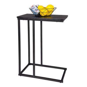 WOLTU Beistelltisch Kaffeetisch Couchtisch Sofatisch Nachttisch Betttisch Laptoptisch, aus Metall MDF, Schwarz 45x25x63,5cm (BxTxH) TSG17sz