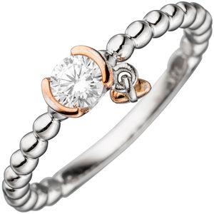 JOBO Damen Ring Kugel 925 Sterling Silber bicolor 1 Zirkonia Kugelring Größe 52
