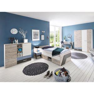 Jugendzimmer Set mit Schreibtisch 5-teilig LEEDS-10 in Sandeiche Nb. mit weiß, Lava und Denim Blau