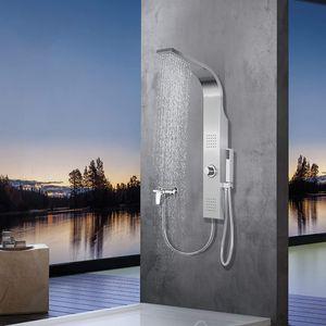 Elbe RNP-W04 Duschpaneel ohne Armatur, 2 x Massagedüsen, Regendusche und Handbrause, Duschsystem aus gebürstetes Edelstahl