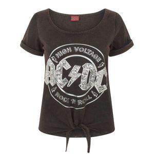 AC/DC Comics Damen High Voltage Pailletten Acid Wash Binde T-Shirt NS4286 (M) (Schwarz)