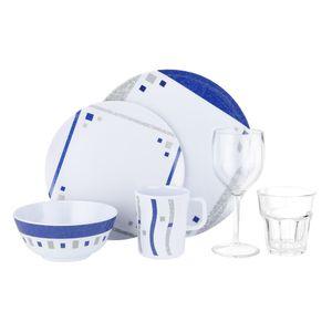Melamingeschirr Campinggeschirr Picknick Outdoor Melaminset 6teilig Cubic Blue 1 Personen incl.Wasser und Weinglas