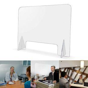 60x60cm Thekenaufsatz Schutzscheibe Spuckschutz Plexiglas Schutzwand mit Durchreiche