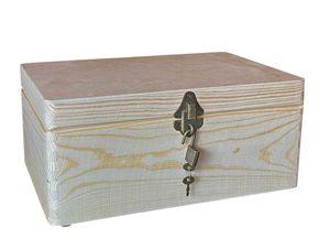 abschließbare Aufbewahrungsbox/ Holzkiste Gr. 1 Kiefer unbehandelt (Schloss 2-antik)