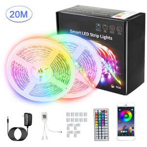 RGB LED-Lichtleisten 20M 600LEDs 5050RGB Lichtleisten LED-bandLicht APP-Steuerung Einstellbare Helligkeit Timing-Funktion LED Streifen für Weihnachtsfeier Bar Home Decor