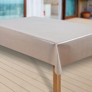 Wachstuch-Tischdecke Wachstischdecke Tischwäsche Abwaschbar Wachstuchdecke, Muster:Elligent Glitter Beige, Größe:140x220 cm