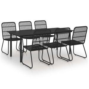 7-teiliges Outdoor-Essgarnitur Garten-Essgruppe Sitzgruppe Tisch + stuhl Poly Rattan und Glas
