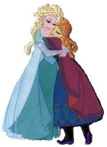 """KWM Applikation (B)65 x (H)91 mm """"Elsa und Anna umarmend"""" zum Aufbügeln"""