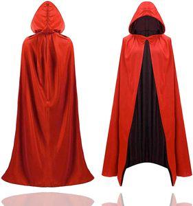 TK Gruppe Timo Klingler Halloween Kostüm Umhang - rot & schwarz - Kaputzenumhang für Kinder & Erwachsene - Damen & Herren