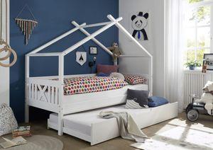 Kinderbett Leonie mit Dach / Himmelvorrichtung 90*200 Kiefer massiv weiß Jugendzimmer Liege Massivholz Spiel Hausbett