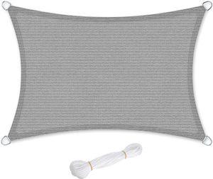 SONGMICS Sonnensegel 300 x 400 cm Sonnenschutz wetterbeständiger UV-Schutz luftdurchlässig rechteckig 2 m Seile rauchgrau GSS034G01