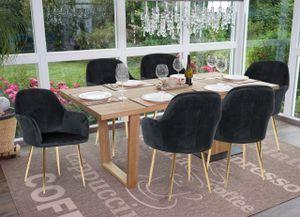 6x Esszimmerstuhl HWC-F18, Stuhl Küchenstuhl, Retro Design  Samt schwarz, goldene Beine