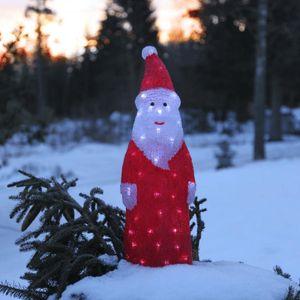 LED-Weihnachtsmann 'Crystal Santa' - 60 kaltweiße LED - klares Acryl - H: 57cm - Outdoor Figur
