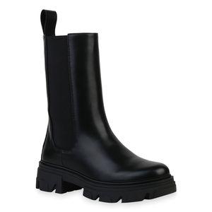 Giralin Damen Plateaustiefel Stiefel Plateau Vorne Profil-Sohle Schuhe 836491, Farbe: Schwarz, Größe: 39