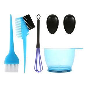 5PCS Haarfaerbemittel Farbbuerste und Schuessel Set Ohrkappen Farbstoffmischer Haartoenung Faerben Faerben Farbapplikator,Blue