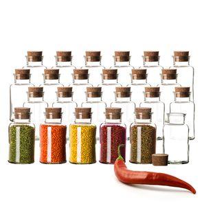 24er Set Gewürzgläser mit Korken-Deckel 300 ml Rund - Gewürzdosen aus Glas - Vorratsgläser