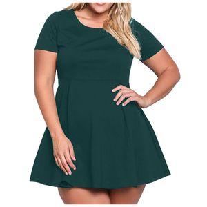 Damenmode Lässig Einfarbig O-Ausschnitt Schlankes Weiches Kurzarmkleid Größe:M,Farbe:Grün