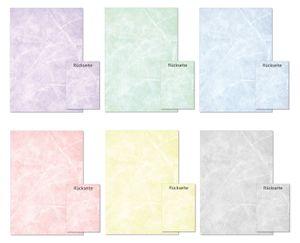 6 x 10 Blatt  Marmorpapier Briefpapier Set Mix zweiseitig bedruckt 6 verschiedenen Farben (Gastronomie-5243)