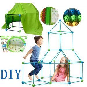 87PCS DIY Bauen Sie Ihr eigenes Höhlen-Set-Kit Geschenk Kinder Zelt Gebäude Bausteine Spielzeug