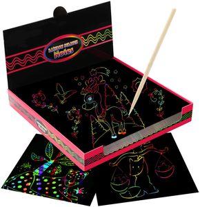 Kratzbilder für Kinder, 100 Stücke Kinder Kratzpapier mit Stift Kritzelkarten Magic Color Kratzkunst Kreativ Geschenk für Mädchen 6 7 8 9 Jahre— QingShop