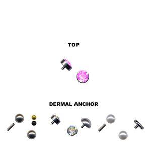 Dermal Anchor Aufsatz Hautanker Top Piercing Kugel, Kristall, Halbkugel, Perle, Farbe:Pink, Größe:5 mm, Modell:Modell 5