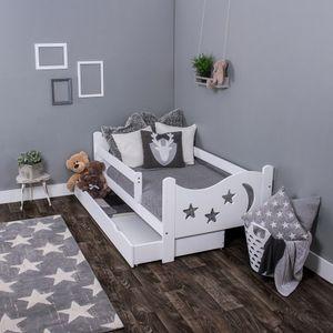 KAGU Chrisi Kinderbett Jugendbett Juniorbett Bett (140 x 70 cm oder 160 x 80 cm). Kiefernholz Massivholz inkl. Matratze und Schublade, Farbe:White, Größe:140 x 70 cm