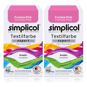 Simplicol Textilfarbe expert Fuchsia-Pink 150g - Farbe zum Färben (2er Pack)