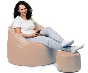 sunnypillow Premium XXL Sitzsack mit Hocker Riesensitzsack Outdoor & Indoor mit 320L Styropor Füllung Sessel für Kinder & Erwachsene Sitzkissen Sofa Beanbag viele Farben zur Auswahl Beige