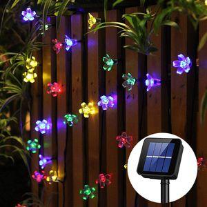 50 LED Sternen Solar Lichterkette 6.8m Outdoor Lichter Multi-color Weihnachtskugel Licht