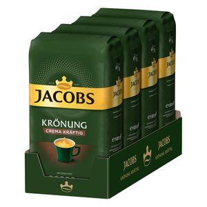 JACOBS Kaffeebohnen Krönung Crema kräftig Bohnenkaffee 4 x 1 kg ganze Bohne