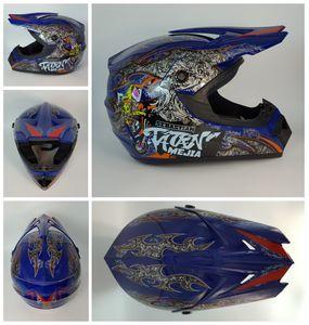 Megacooler Crosshelm Mejia Helm für Kinder blau Größe S; Kinderhelm Motocrosshelm