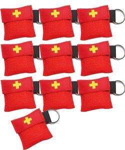 10er Set Worldconnection Beatmungsmaske Beatmungstuch Schlüsselanhänger Beatmungsfolie rot CPR Maske rot