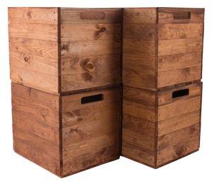4x Schöne Korbkiste aus Holz in warmem Braun, passend für Kallax Ikea, zum Verstauen von Schulsachen / Spielzeug, neu, 37,5x32x32,5cm